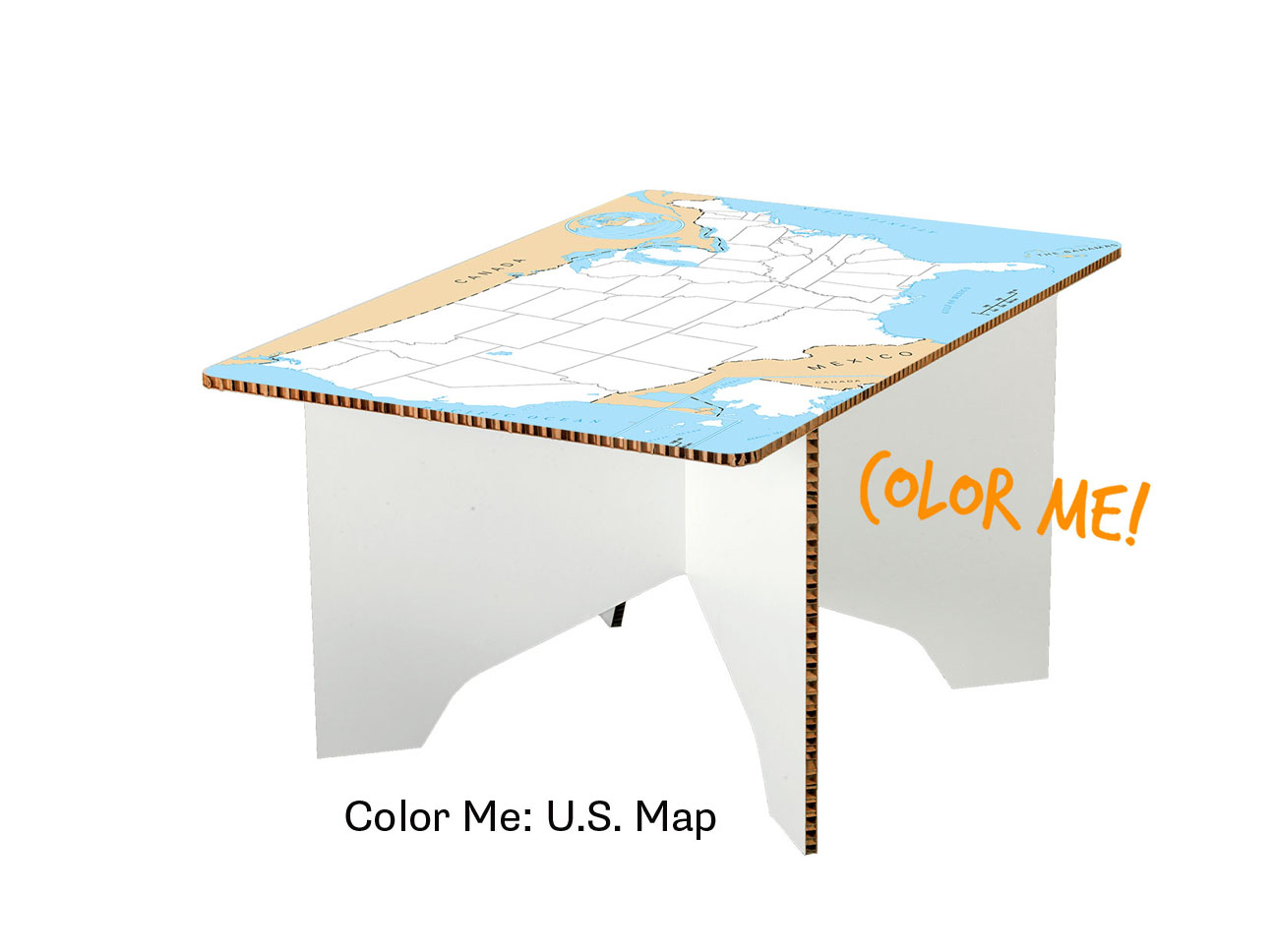 Color Me US Map Coffee Table